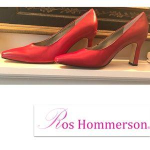 """12M Ross Hommerson Red Pump w 1"""" wide Heel 3 3/4""""H"""